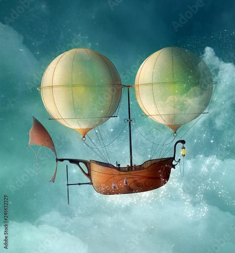 Fototapeta Fantasy steampunk vessel flies in a blue sky - 3D illustration