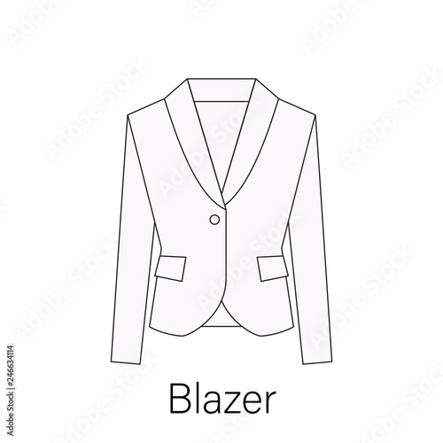 Photo Men blazer or jacket or suit symbol simple flat vector icon in line design