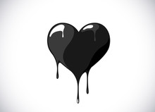 Black Heart Shape Melting With Drops. Bloody Heart Symbol For Logo