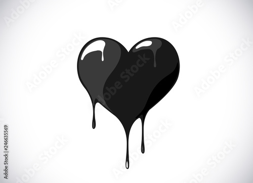 Black heart shape melting with drops Canvas Print