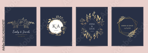 Wedding logos, hand drawn elegant, delicate monogram collection Wallpaper Mural