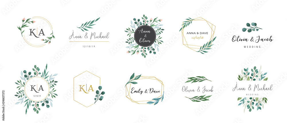 Fototapeta Wedding logos, hand drawn elegant, delicate monogram collection