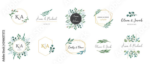 Valokuvatapetti Wedding logos, hand drawn elegant, delicate monogram collection
