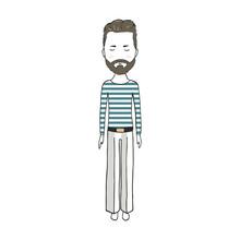 Navigator With A Beard Digital Art A Sailor Capillary , Junta, Blond Captain Peakless Cap, A Sailor Boatswain Sailor Submariner Fair Man, Hipster Men Digital Art Shirt On White Background