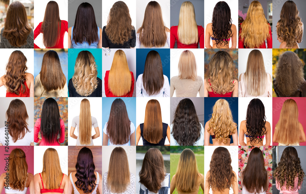 Fototapety, obrazy: Collage of different types of female hair
