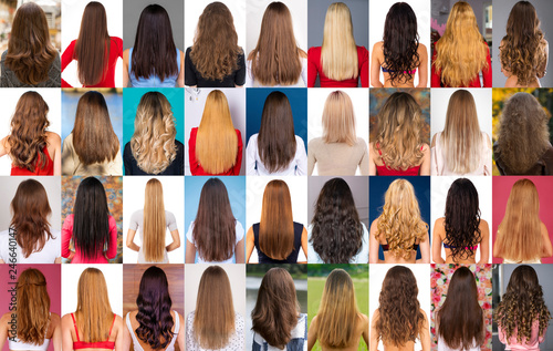 Fotografie, Obraz  Collage of different types of female hair