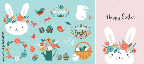 Slika na platnu Happy Easter card - cute bunny, eggs, birds and flowers elements, vector illustr