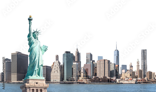 Poster New York The Statue of Liberty with high-rise building in Lower Manhattan, New York City, isolated with clipping path