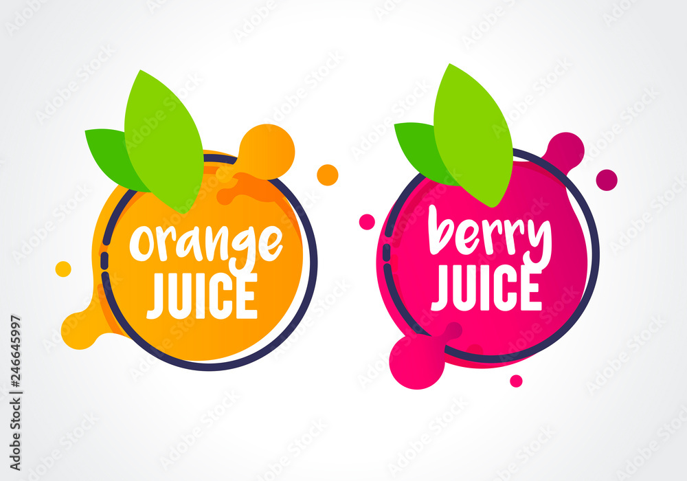 Fototapeta Vector Illustration fresh berry and orange fruit label icon. healthy juice design sticker.