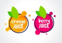 Vector Illustration Fresh Berry And Orange Fruit Label Icon. Healthy Juice Design Sticker.