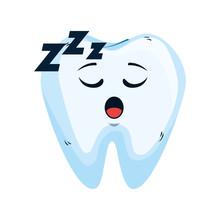 Comic Tooth Asleep Kawaii Char...