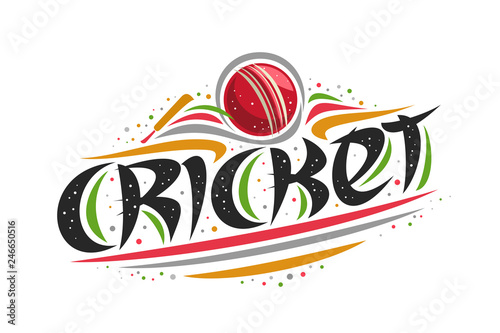 Vector Logo For Cricket Sport Creative Contour Illustration Of Hitting Ball In Goal Original Decorative Brush Typeface For Word Cricket Simplistic Cartoon Sports Banner With Lines And Dots On White Buy