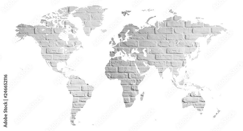 Fototapeta mapa świata z cegły jako plakat lub grafika na ścianę