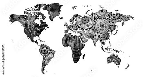 Fototapeta mapa bardzo mechanicznego świata jako plakat lub grafika na ścianę  obraz