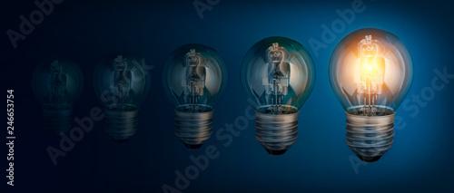 Lightbulbs na niebieskim tle, pomysłem