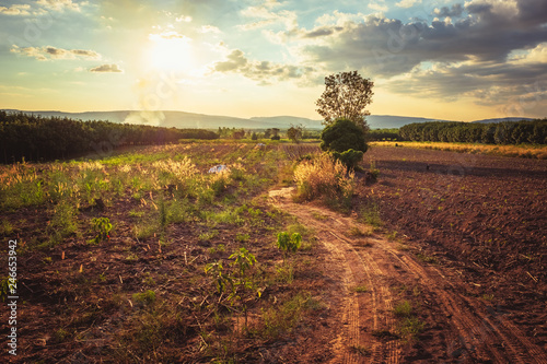 Dirt road and plough land on the hill, countryside view in Thailand
