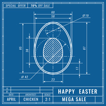 Blueprints Concept Of Easter Egg. Mechanical Engineering Drawings. Technical Design. Easter Banner, Cover, Poster, Flyer Or Greeting Card