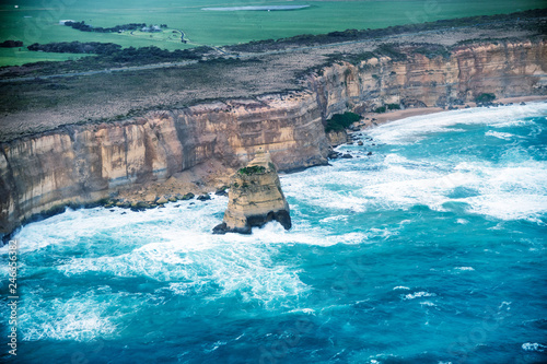 Foto op Plexiglas Oceanië Aerial view of Twelve Apostles on a stormy day, helicopter vantage point