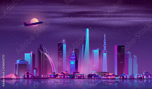 Foto auf Leinwand Aubergine lila Modern metropolis night landscape with illuminated vintage and futuristic architecture buildings in city business center, luxury cottages or villas on quay, airliner flying in sky neon cartoon vector