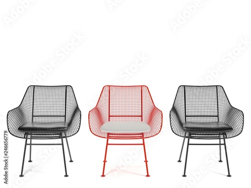 Fotomural  Red Wicker chair in the center of two black chairs