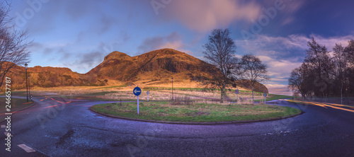 Arthurs Seat from Holyrood Park Rd, Panorama longexposure, Edinburgh, UK, 2019. Ver.II
