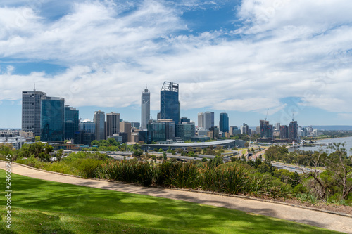 Complete skyline of Perth seen from Kingspark including Elizabeth Quay