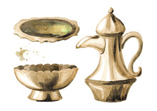 Silver Crockery Set. Traditional Arabic Coffe Pot, Bowl And Plate. Watercolor Hand Drawn Illustration Isolated On White Background