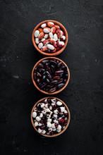 Raw Beans In A Bowl. Top View. Free Copy Space.