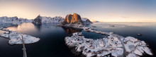 Panorama Aerial View Of Archipelago Of Arctic Ocean With Fishing Village In Winter
