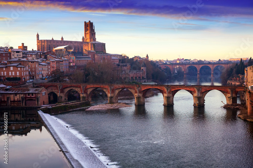 Fotobehang Europa Albi Cathedral and Pont Vieux over river Tarn