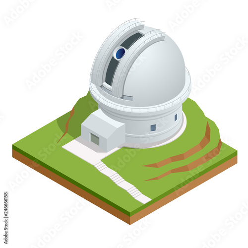 Isometric astronomical observatory dome Wallpaper Mural