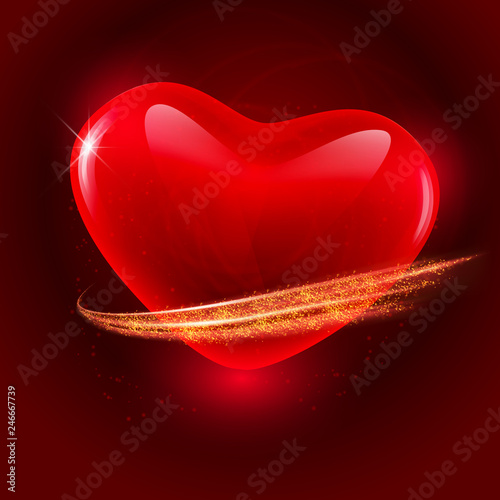 Valentines Day Dark Background With Red Crystal Heart The