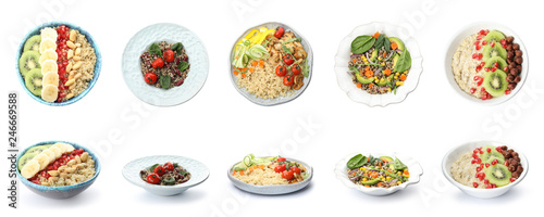 Set of healthy quinoa dishes isolated on white