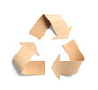 canvas print picture - Recycling symbol cut out of kraft paper on white background, top view