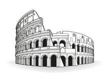Rome Coliseum Hand Drawn Outli...