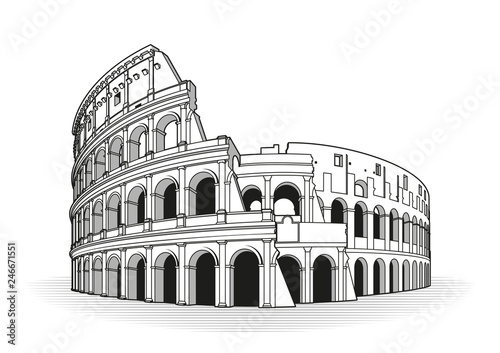 Vászonkép Rome coliseum hand drawn outline doodle icon