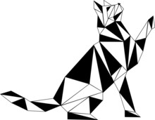 Cat Looking To Top Pets Illustration Vector Image, Black, White, Contour, Graphics, Isolated
