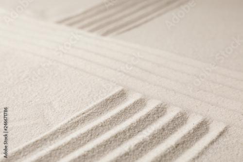 Fotografia  Zen garden pattern on sand. Meditation and harmony