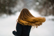 Girl's Long Hair. Fluttering B...