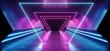 canvas print picture - Neon Triangles Laser Glowing Cyber Sci Fi Futuristic Modern Retro Hi Tech Dance Club Purple Pink Blue Lights In Dark Grunge Reflective Concrete Tunnel Corridor Hall Room Empty 3D Rendering