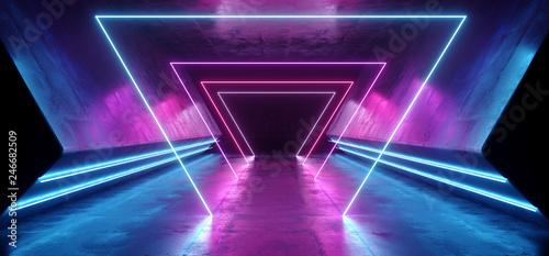 Neon Triangles Laser Glowing Cyber Sci Fi Futuristic Modern Retro Hi Tech Dance Canvas Print