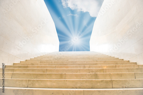 Photo Stands Stairs Sun shining on sky on marble staircase
