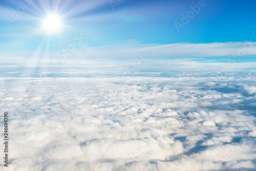 Papiers peints Pays d Afrique Blue sky and white clouds with sun rays