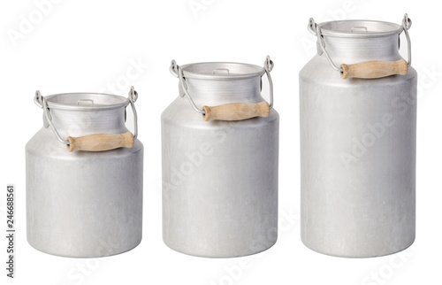 Fotografia aluminium milk can on white