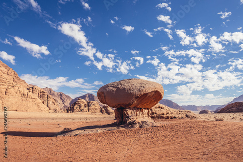 Fotografie, Obraz  Mushroom shaped rock in Wadi Rum also known as valley of light or valley of sand