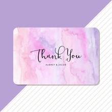 Thank You Card With Pastel Abstract Watercolor Background