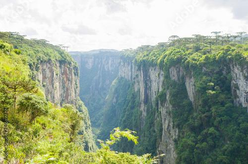 Photographie  Beautiful landscape of Itaimbezinho Canyon and green rainforest, Cambara do Sul,