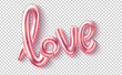 Vector love realistic rubber balloon on pink