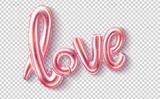 Wektor miłość realistyczny gumowy balon na różowo