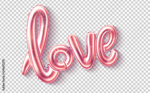 Foto Vector love realistic rubber balloon on pink